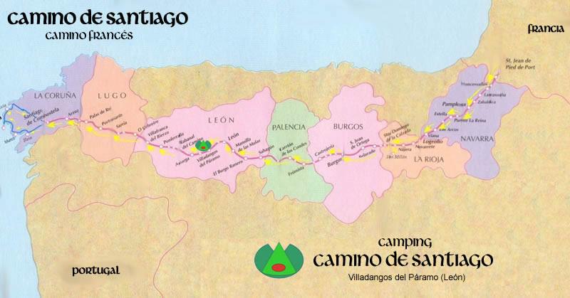 Mapa del Camino Francés a Santiago
